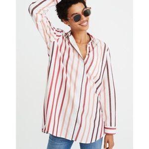 Madewell Ex-Boyfriend Shirt in Lorelei Stripe Red